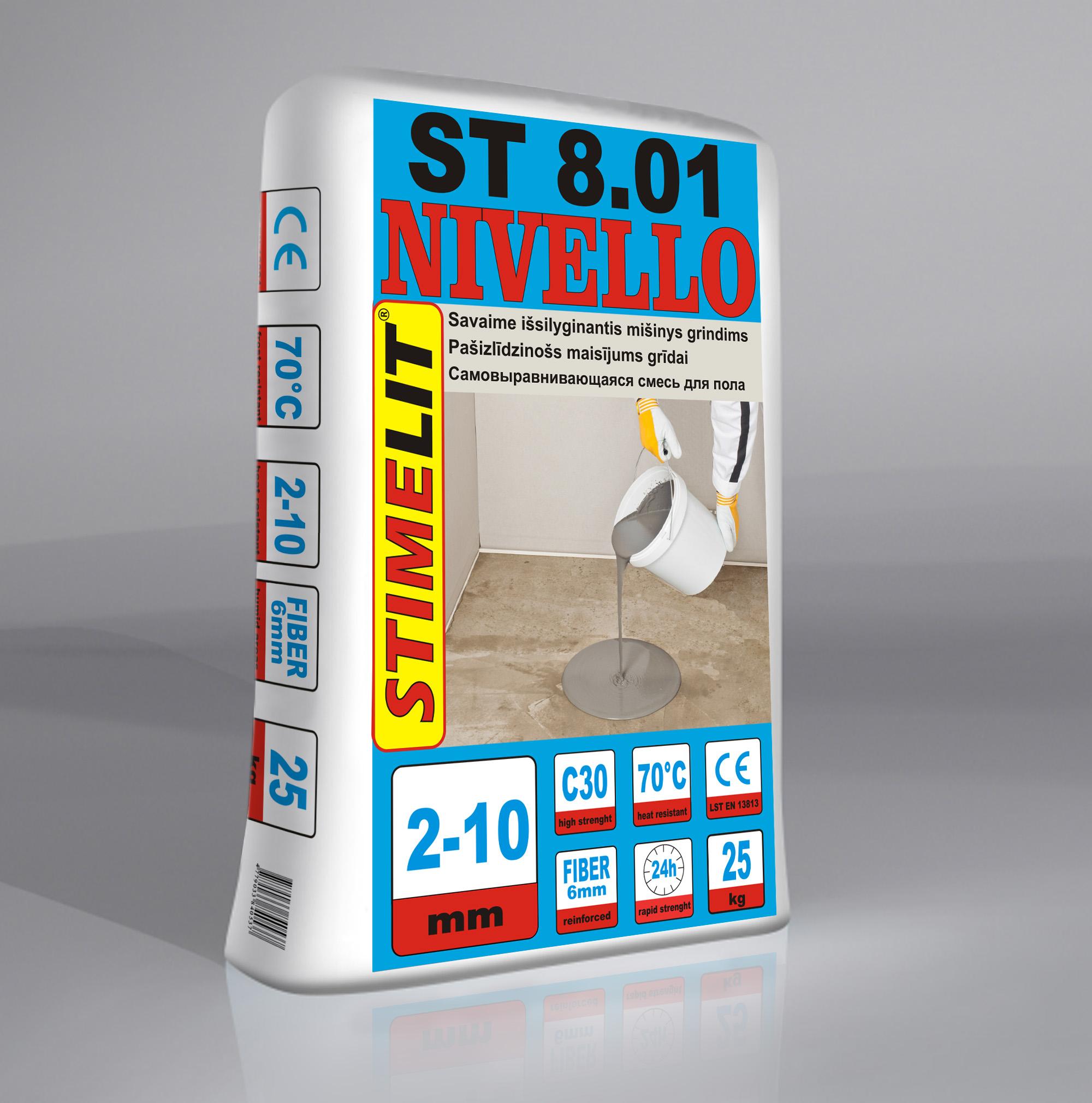 ST8.01 NIVELLO Savaime išsilyginantis grindų mišinys 2-10mm