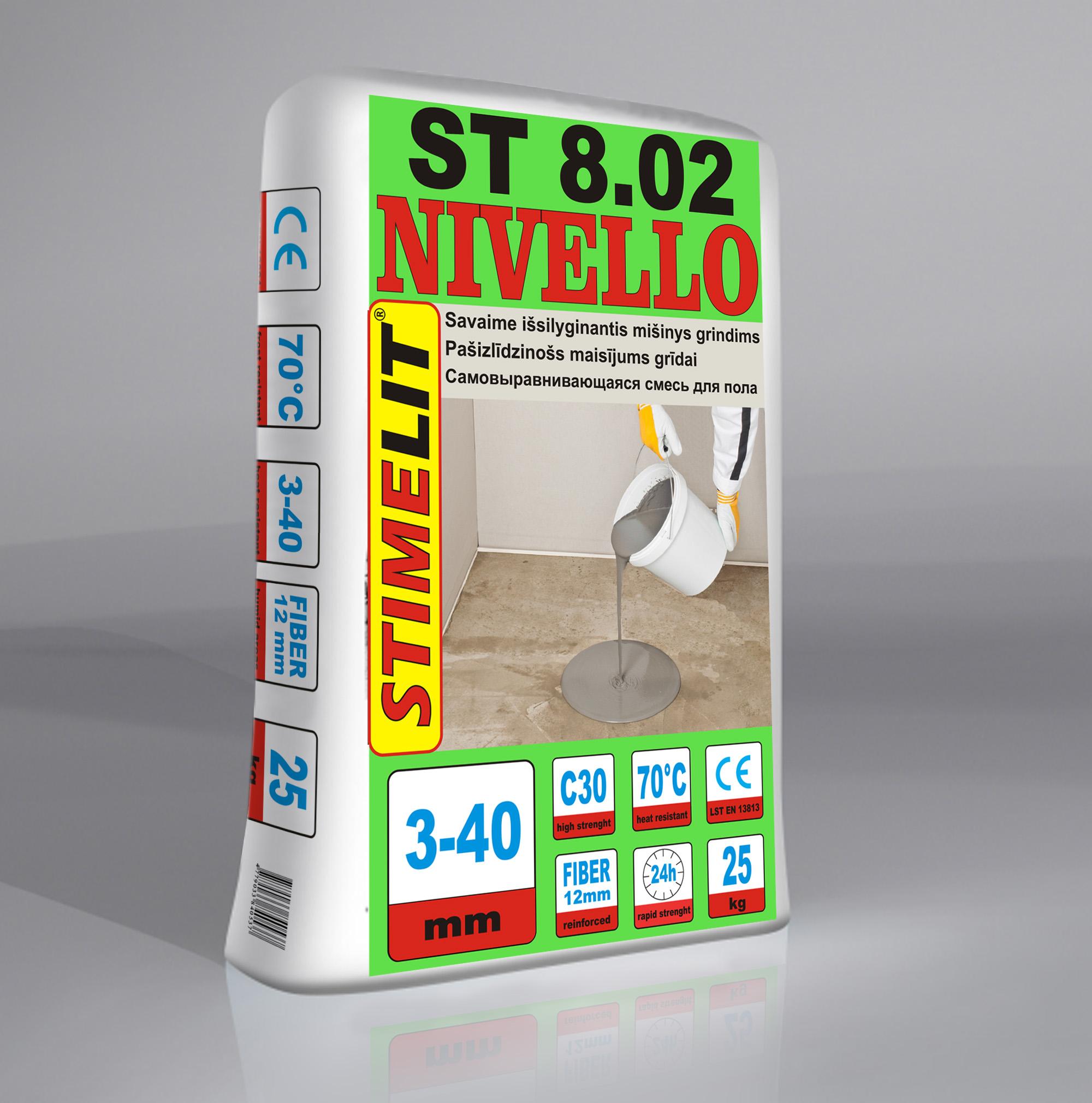 ST8.02 NIVELLO Savaime išsilyginantis grindų mišinys 3-40mm